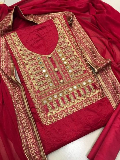 Dress Material_Red Chanderi Silk Embroidered Dress for women