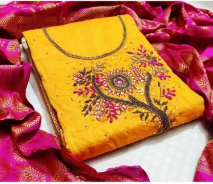 Delightful Yellow Chanderi Cotton With Hand Work And Banarasi Dupatta Dress Material For Women-SN503D
