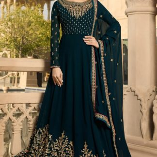 Suspassing Navy Blue Colored Georgette With Embroidered And Stone Work Semi Stitched Suit-VT3048101A