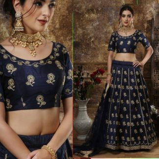 Ravishing Navy Blue Thai Silk Coding & Real Mirror Work With Net Dupatta Designer Party Wear Lehenga Choli-NBMJINI102A