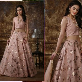 Lovely Dusty Peach Colored Thai Silk With Metalic Foil And Lace Border Designer Party Wear Lehenga Choli For Women-NBMJINI102B