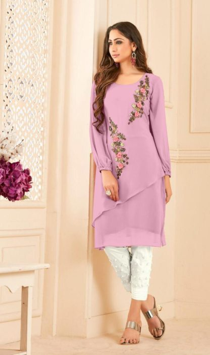 Lovely Pink Designer Straight Cut Tunic With Overall Peal Work Full Stitched For Women-VT3For 161101A
