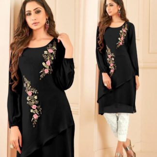 Glowing Black Georgatte Straight Cut Tunic With Overall Pearl Work And Lawn Cotton Pant For Women-VT3161101C
