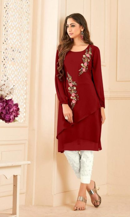 Flamboyant Designer Maroon Straight Cut Tunic With Overall Pearl Work And Lawn Cotton Pant For Women-VT3161101D