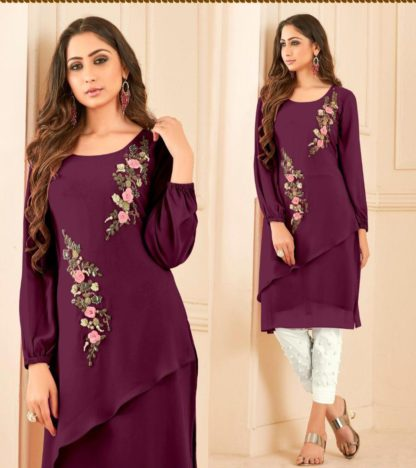 Opulent Purple Designer Straight Cut Tunic With Overall Pearl Work And Lawn Cotton Pant For Women-VT3161101E
