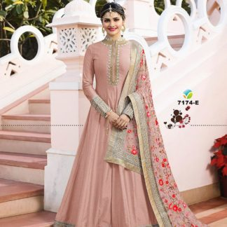 Pastal Pink Color Georgette Long Anarkali Semi Stitched Gown with Heavy Work on Dupatta
