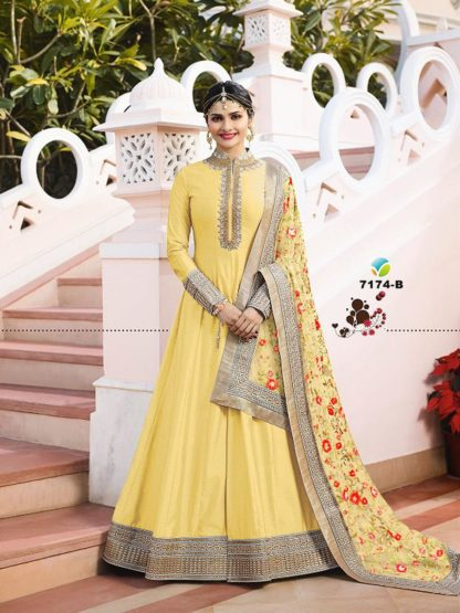 Adorable Yellow Color Georgette Long Anarkali Semi Stitched Gown with Heavy Work on Dupatta