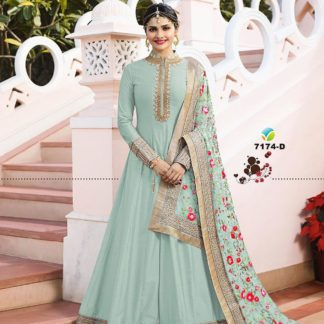 Flying Sky Color Georgette Long Anarkali Semi Stitched Gown with Heavy Work on Dupatta