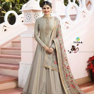 Alluring Color Georgette Long Anarkali Semi Stitched Gown with Heavy Work on Dupatta