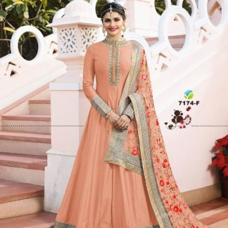 Awesome Orange Color Georgette Long Anarkali Semi Stitched Gown with Heavy Work on Dupatta