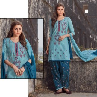 Charming Blue Colored Pure Cotton Semi-Stitched Embroidered Salwar Suit For Women-VT2123101C