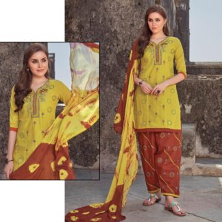 Admiring Yellow & Red Pure Cotton Embroidered Semi-Stitched Dress material -VT2123101D