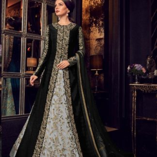 Snow White Black Combination Malbarry Silk With Jacket Long Anarkali Semi Stitched Gown_Design 5908