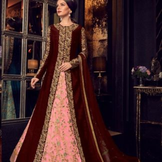 Amazing Dark Maroon Combination Malbarry Silk With Jacket Long Anarkali Semi Stitched Gown_Design 5908