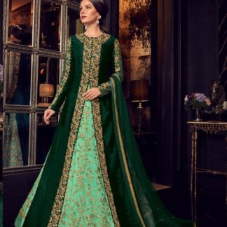 Delightfull Dark Green Color With Jacket Long Anarkali Semi Stitched Gown_Swagat Collection 5908