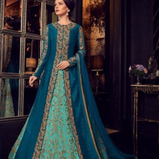 Designer Rama Color With Jacket Long Anarkali Semi Stitched Gown_Swagat 5908