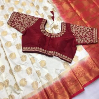 Alluring Cream & Red Naylon Silk Saree With Ready Made Blouse For Women-VT3049102A