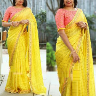 Fashion Special Yellow Chanderi Silk Saree With Beaufiful Handtype Embroidered work