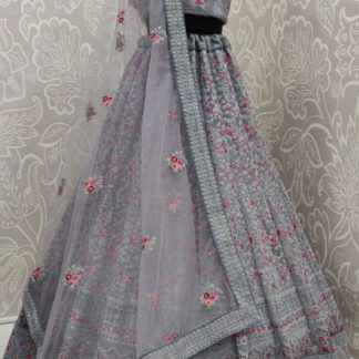 Amazing Grey Bridal Wear Designer Resham Heavy Coding Embroidered With Resham Work Lehenga Choli For Function Wear-NBMJINI103B
