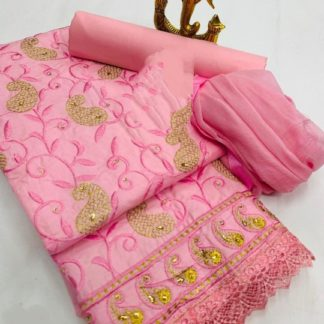 Delightful Pink Colored Cotton Embroidered Work Dress Material For Function Wear-VT2080101B