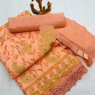 Glowing Peach Colored Cotton Embroidered Work Dress Material For Women Function Wear-VT2080101D