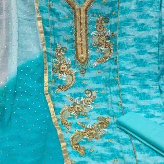 Fantastic Blue Colored Printer Zaam Cotton Embroidered Neck And Allover Butta With khatli Work Salwar Suit For Women-VT3052103C