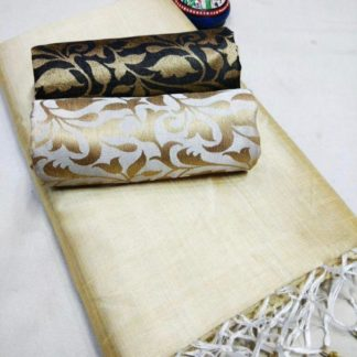 Off White Color Chanderi Silk Plain Saree with Fancy Jacard Silk 2 Blouse For Women