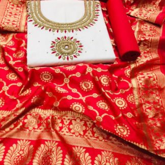 Trendy Offwhite & Red Heavy PC Cotton With Hand Work Salwar Suit And Banarasi Dupatta For Wedding Wear-VT1080103E