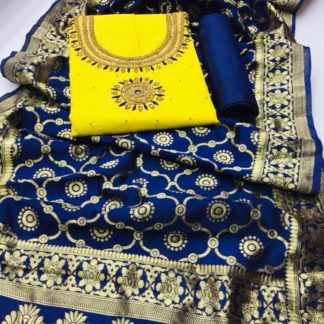 Gorgeous Yellow & Blue Designer Heavy PC Cotton With Hand Work Salwar Suit And Banarasi Dupatta For Party Wear-VT1080103A