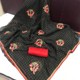 Beautiful Black Designer Chanderi Chex Cotton With Embroidered Saree And Banglori Blouse For Wedding Wear-VT1080104B
