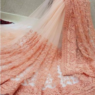 Marvellous Peach Colored Designer Heavy Naylon Net With Heavy Moti Embroidered Work Saree And Banglori Silk Blouse For Wedding Wear-VTDHRUV103C