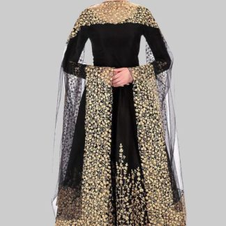 Demanding Black Designer Tafeta Silk With Full Embroidered Work Semi Stitched Dress For Function Wear-VTBIPOLAR101A
