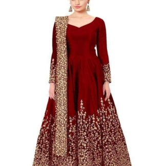 Captivating Red Designer Heavy Tafeta Silk With Fully Embroidered Work Semi Stitched Suit For Wedding Wear-VTBIPOLAR101B