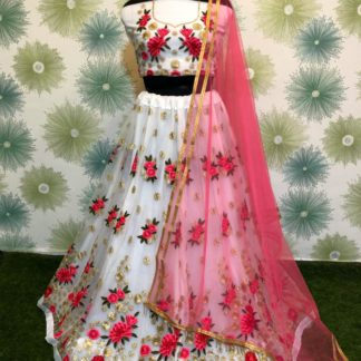 Precious White Colored Heavy Designer Net Thread & Jari Embroidered Work Lehenga Choli For Wedding Wear-VT1046RC174C