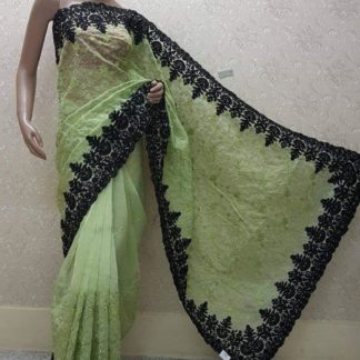 Charming Pista Green Heavy Net With Heavy Embroidered Two Tone Work Saree And Banglori Silk Blouse Fpr Party Wear-VTMEHUL102B