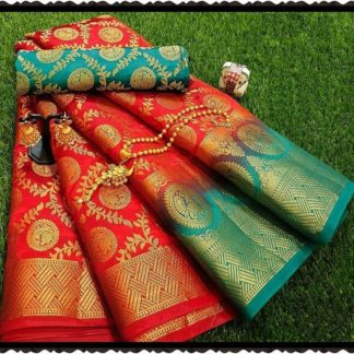 Rustic Red Rich Pallu All Over Jacquard Design Banarasi Nylon Exclusive Designer Saree