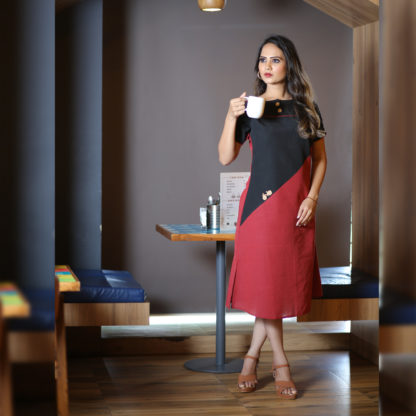Maroon and Black Exclusive New Look Cotton Designer Kurti AW513