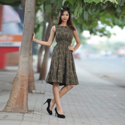 Mehendi Color Exclusive Butterfly Cotton Printed Designer Kurti AW524
