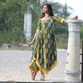 Kotton Printed mahendi yellow pleated Designer kurti AW530