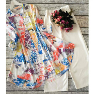 Heavy American Crepe Digital Printed White Feather Designer Top and Palazzo AW545