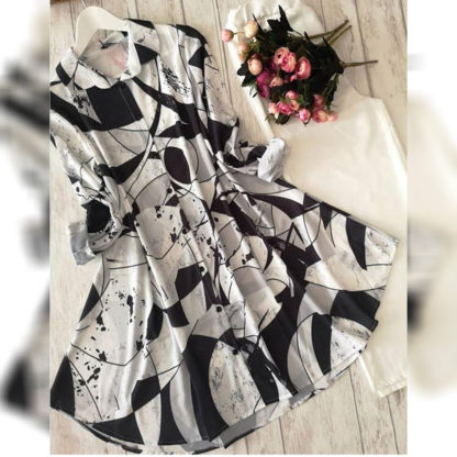 Heavy American Crepe Digital Printed Scooby Black & White Designer Top and Palazzo AW547