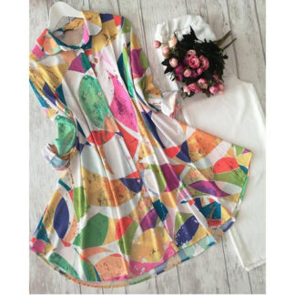 Heavy American Crepe Digital Printed Rainbow Off-White Designer Top and Palazzo AW-557 (2)
