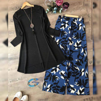 Heavy American Crepe Digital Printed Blue leaf Designer Top and Palazzo AW-562 (2)