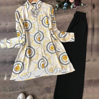 Heavy American Crepe Digital Printed Round Yellow Designer Top and Palazzo AW-563 (2)