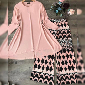 Digital Print Heavy American Crepe Pink Grill Top and Palazzo AW-585
