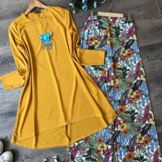 Yellow Forest Digital Print Heavy American Crepe Top and Palazzo AW-588