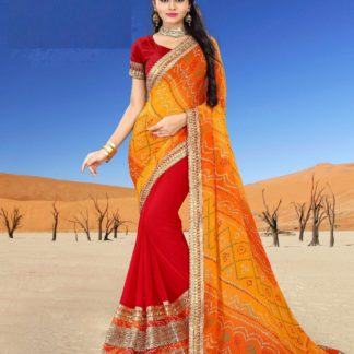 Tradition Glamour Georgette Energetic Red Colour Bandhani For Traditional Function Wear Saree