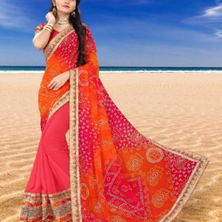 Charming Peach Colour Tradition Glamour Georgette Function Wear Bandhani Saree