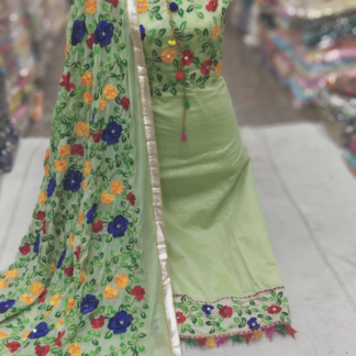 Rainbow Collection Beautiful Embroidery Chanderi Silk Salwar Suit Material For Women