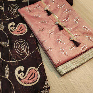 Exclusive Embroidery And Foil Printed Chanderisilk Pink Designer Dress